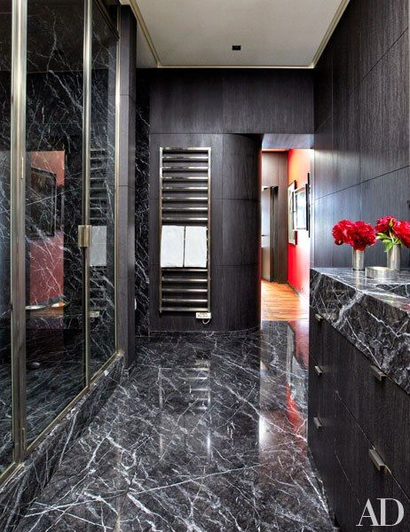 Fashion Designer Veronica Toub S Ultrastylish Apartment In Paris Black Marble Bathroomblack