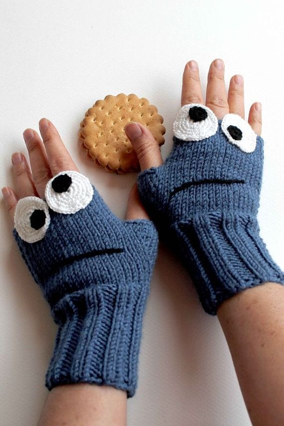 Cookie Monster . Sesame Street Fingerless Gloves . Fashion 2016 . Girls Women . Valentines Day . Love . Blue . Black. . Mother's Days