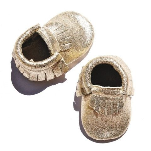 DEER ONE GOLD GLITTERATI MOCCASINS