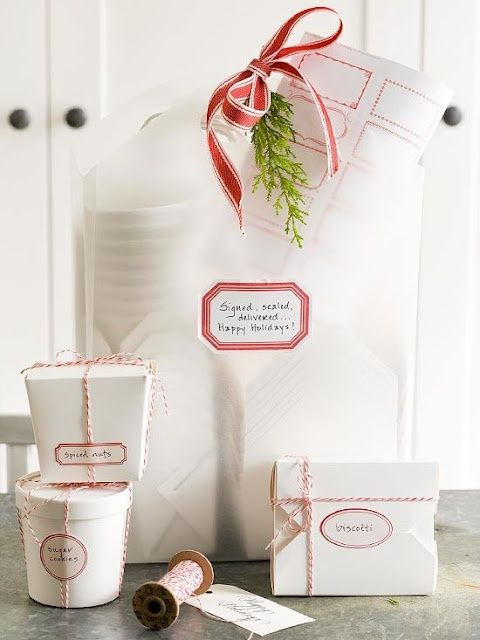 Simple red and white gift wrapping for Christmas