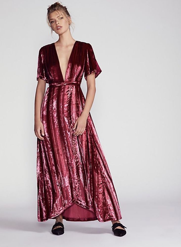 NWT Free People red wine Velvet Metallic Striped Wrap Maxi Swingy Dress S   FreePeople  MaxiDressWrapDress  versatile 1389ebf5f