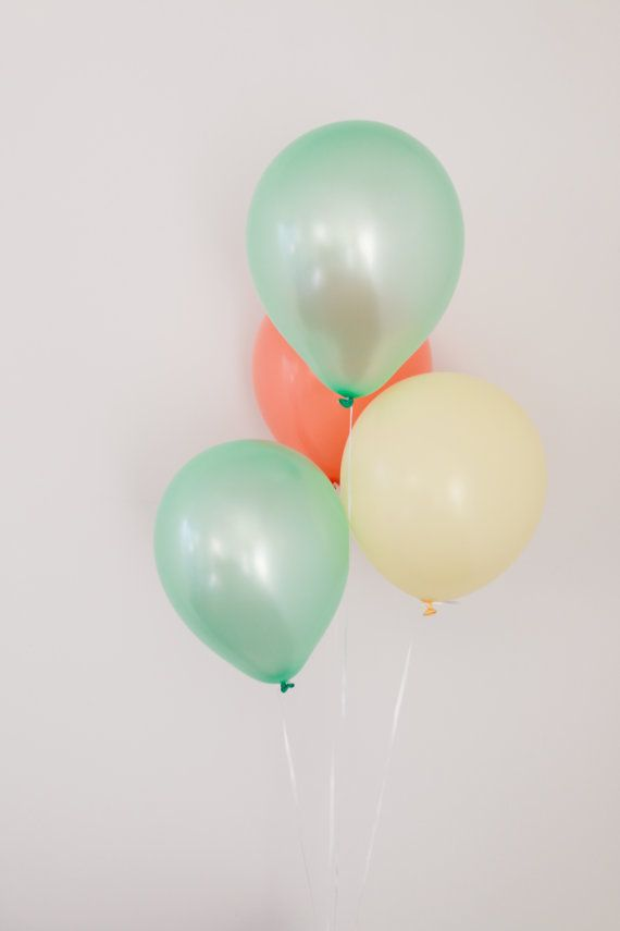 ++Colors: - 3 Mint Green - 2 Peach - 1 Ivory Please feel free to message us for custom colored balloon combinations **  ++Features: - 6 Balloons that