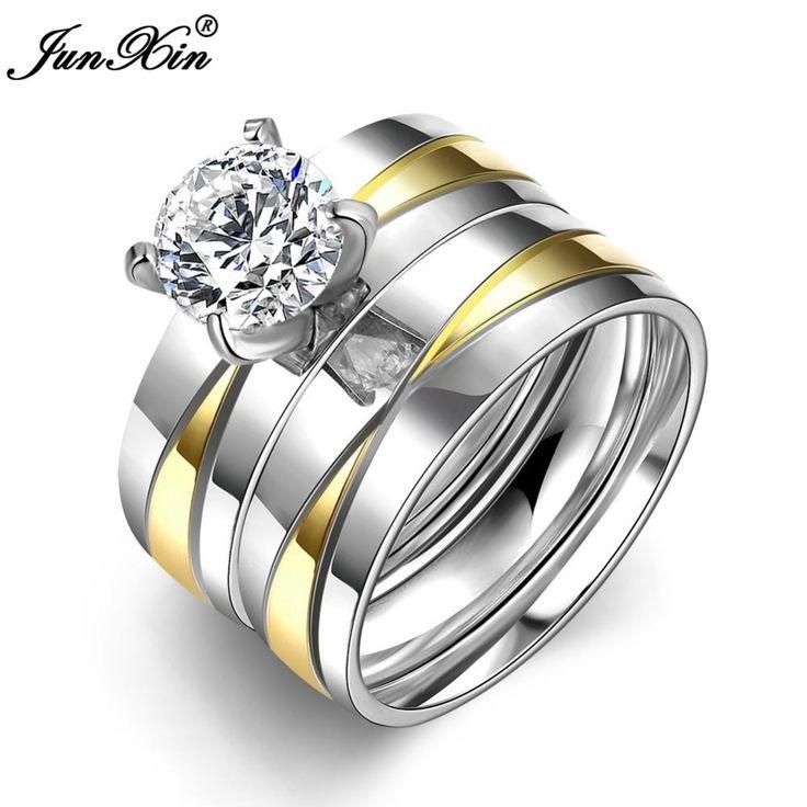 JUNXIN Luxe Crystal White Zirkoon Zilver Goud Kleuren Rvs Ring Nieuwe Mode-sieraden Mannen Vrouwen Trouwringen SMT0399