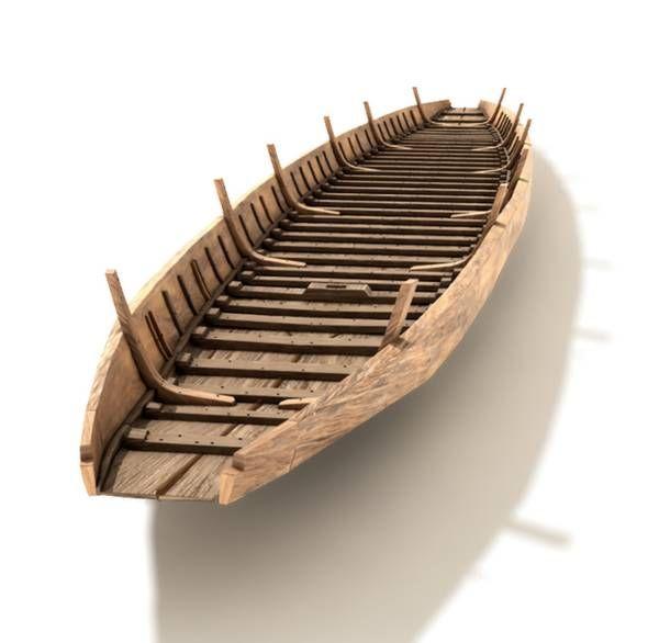 Restitution 3D de la coque du chaland gallo-romain dit Arles-Rhône 3, découvert en 2004 et présenté depuis 2013 au musée de l'Arles Antique après sa restauration par Arc Nucleart. Navire de commerce à fond plat, destiné à naviguer sur le fleuve, construit en utilisant des planches en chêne, probablement au 1er s. (l=31m, la=3m).