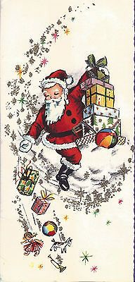 Vintage Swedish Artho Christmas greeting card: Santa Claus w/ gifts - dated 1964