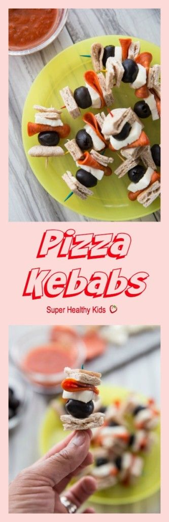 PIZZA KEBABS the easiest snack you're kids are sure to love! Not only are they quick, but they are so simple to put together the kids can make them almost all on their own (with help in the baking of course). Perfect for an after school pick-me-up! http://www.superhealthykids.com/pizza-kebabs/