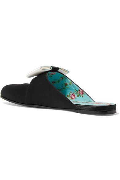 Gucci - Bow-embellished Satin Slippers - Black