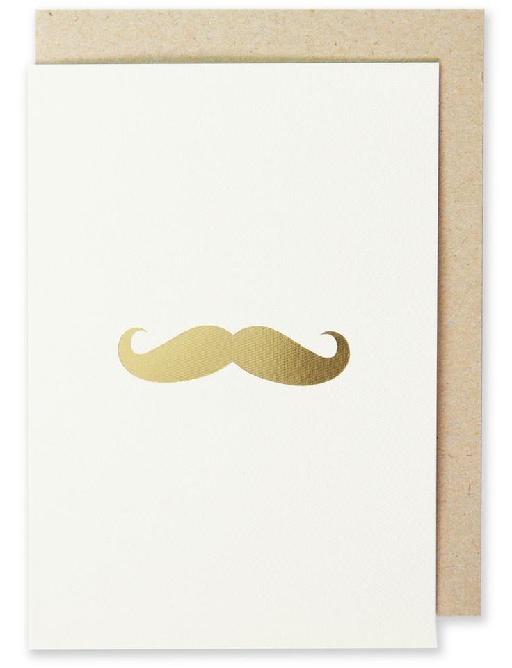 004 - Mustache Greeting Card Metallic Gold Foil, Blank Interior  www.splendourvendor.com