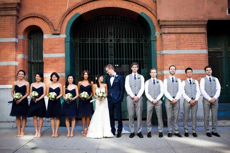 Grey bridesmaid dresses with black tuxedos images
