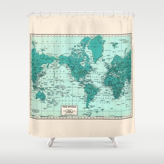 Bath Shower Curtains World Map Shower Curtain in Blue and Cream