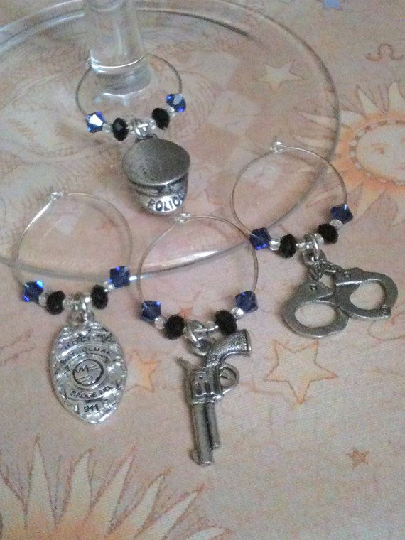 Set of (4)-Police Officer Wine Glass Charms-EtsyWine Glass
