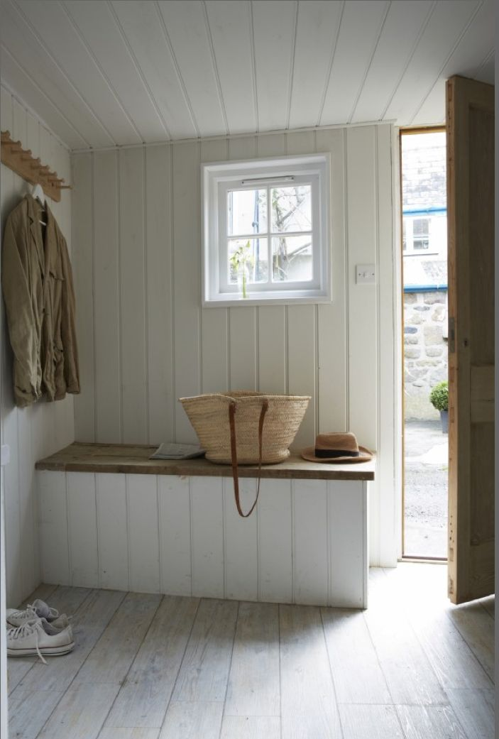 Mudroom idea-bench for putting on boots & hooks for hanging coats