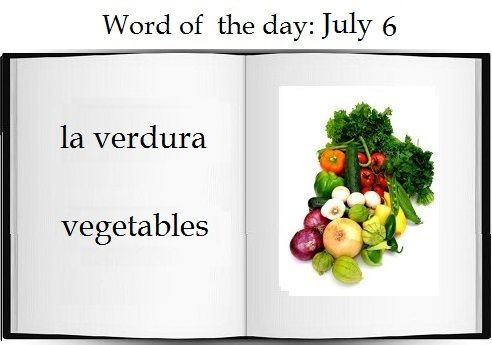 Vegetables in Spanish |    The Spanish word of the day is la verdura.  #Spanish #vocabulary #food