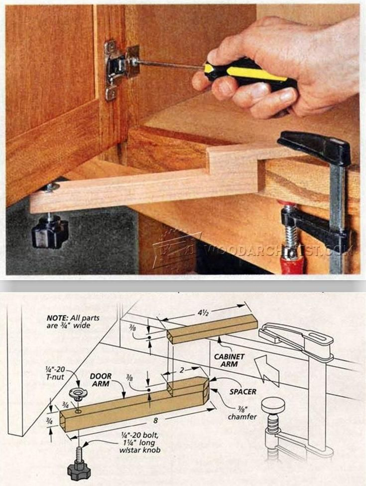 Door Mounting Aid - Cabinet Door Construction Techniques | WoodArchivist.com