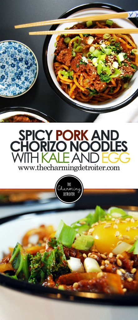 Spicy Pork Chorizo Noodles with Kale and Egg - Spicy chorizo sausage paired with ground pork in a delicious tomato sauce with kale and egg yolk.