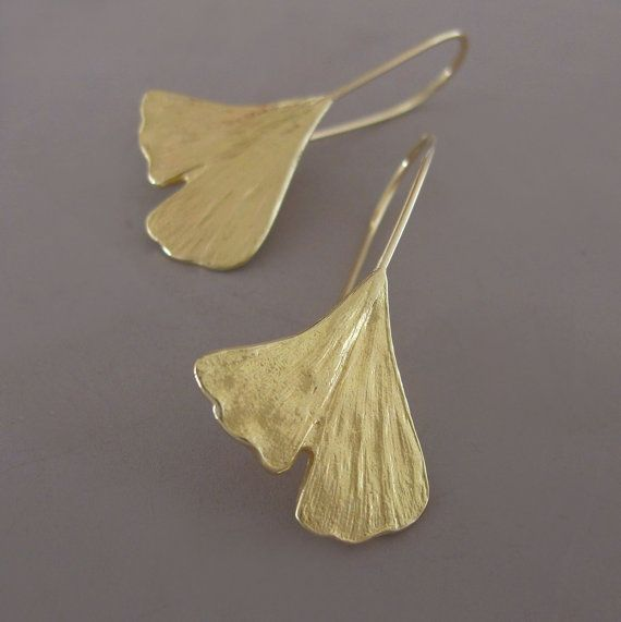 18k Yellow Gold Earrings Ginkgo Leaf by esdesigns on Etsy