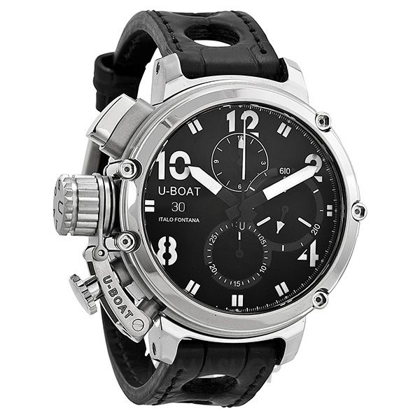 U boat chronograph automatic black dial black leather strap mens watch ub7224 men watches for Black leather strap men