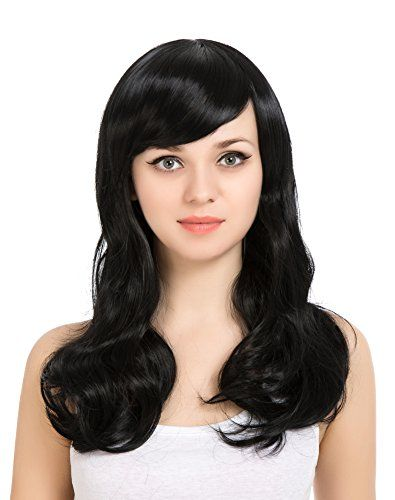 ZUUC Womens Full Head Beautiful Long Curly Wave Wig Black ZU16622 >>> Check out the image by ...
