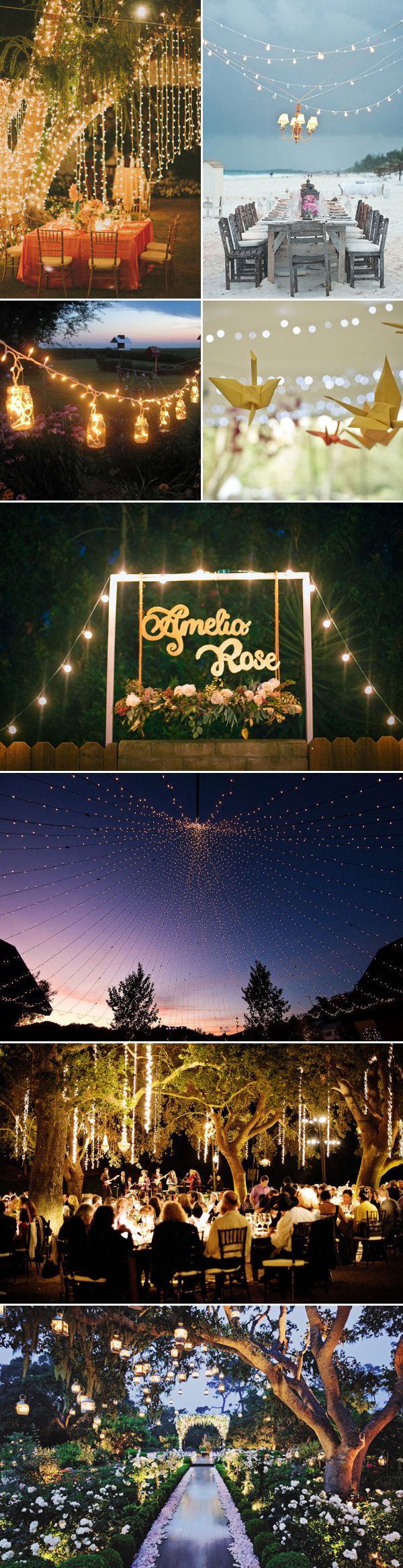 Outdoor Lighting Decoration Ideas  / http://www.deerpearlflowers.com/39-magical-string-hanging-light-decorations-wedding-backdrop/