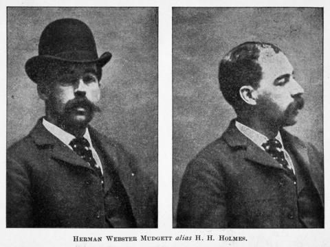 Two portraits, one a profile, of American pharmacist and convicted serial killer Herman Webster Mudgett (better known by his alias H.H. Holmes, 1861 - 1896), in the mid to late 1890s. The photo originally appeared in the book 'The Holmes-Pitezel Case, a History of the Greatest Crime of the Century' by Frank P. Geyer.