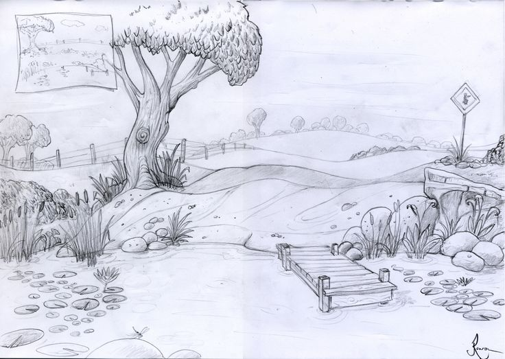 Concept art for Life at the Pond demo scene.