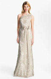Bridesmaids dreses - Tadashi Shoji One Shoulder Lace Overlay Tulle Gown... in love.   #Nordstromweddings