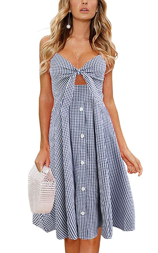 d3053e5a33c ECOWISH Womens Dresses Summer Tie Front V-Neck Spaghetti Strap Button Down  A-Line Backless Swing Midi Dress at Amazon Women s Clothing store