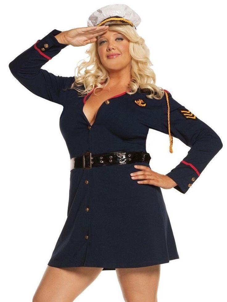 Sexy Military Costume 1X2X Women Plus Halloween Naval -3269