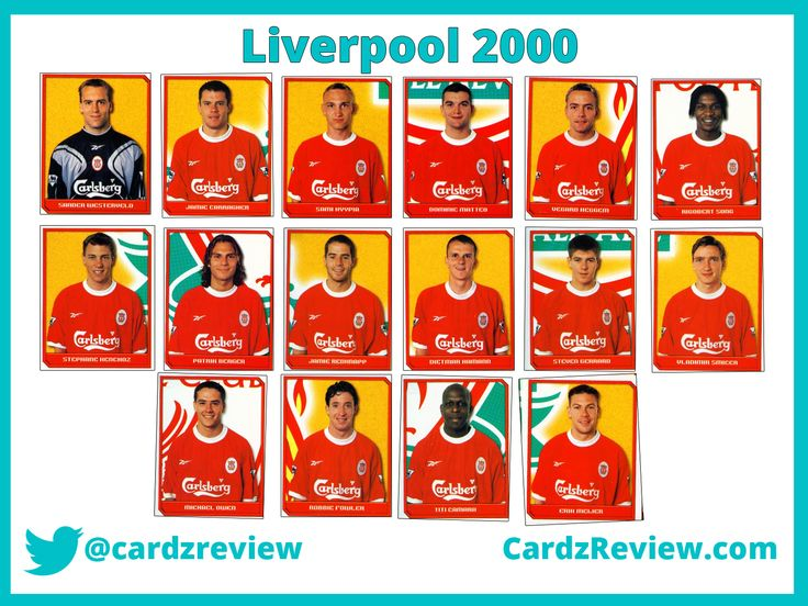 Liverpool players 1998-99 from Merlins 2000 stickers album.