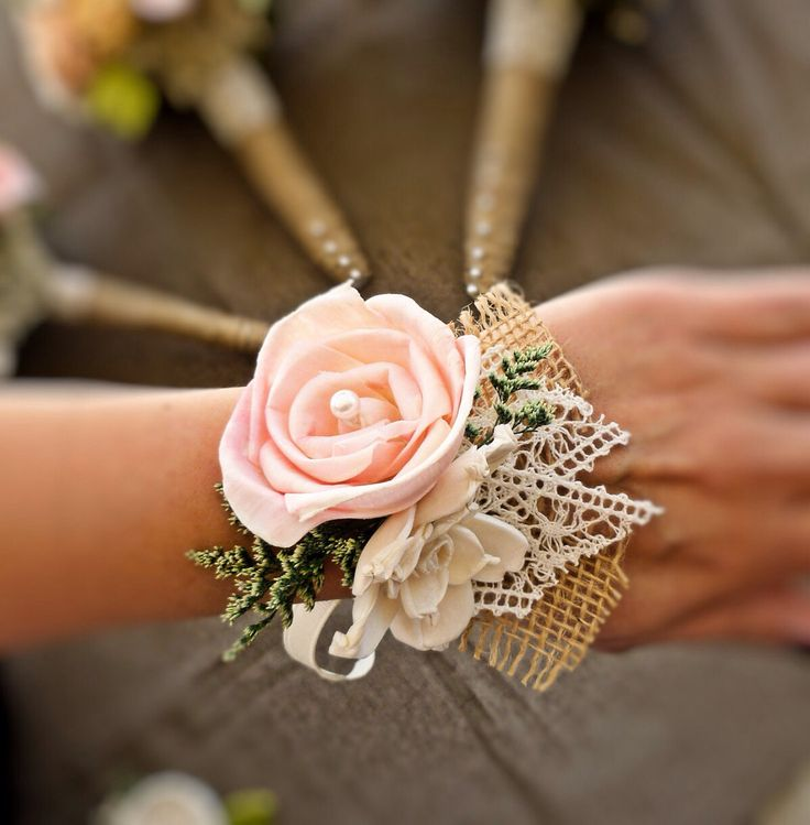 Wedding Corsage: Wrist Corsage With Burlap And Lace.