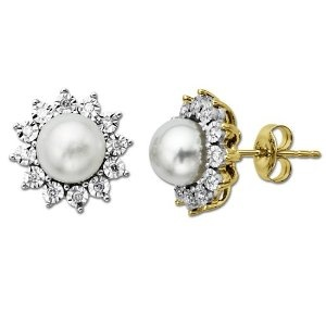I had bought another pair of earrings but having a group of 3 pearls they were a little large i thought. Anyway i saw these - it's a christmas present for my 91 mom in law and she's always wanted a diamond 'something' - particularly as it's her birthstone - and the time is long overdue.