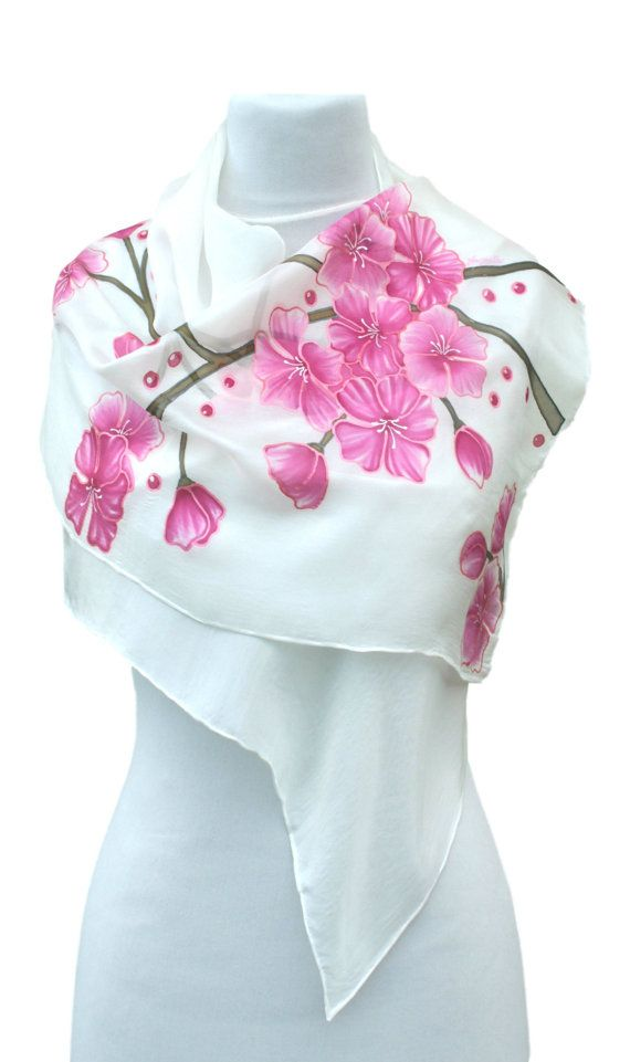 Hand painted silk scarf  pink flowersfloral handmade by Aryonelle