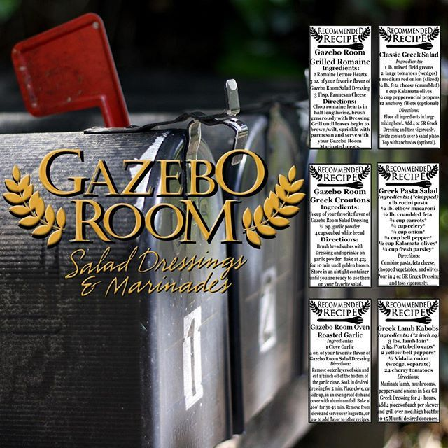 As our mail order customers already know we include a recipe right on our shipping label when you order a 6 or 12 pack. Which of these recipes would you like to see on your next case of Gazebo Room Salad Dressing?