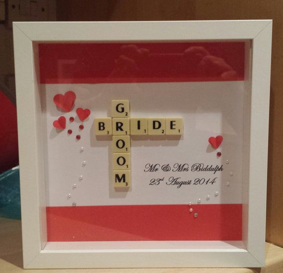 Beautiful, unique wedding gift. Personalised with the couples names and wedding date.( Please supply this when ordering)  A choice of coloured