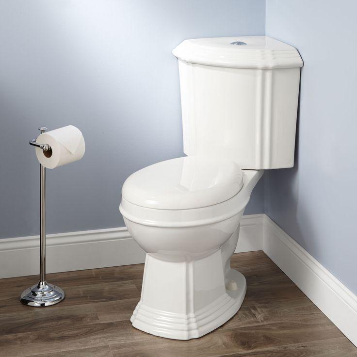 Regent Dual-Flush Corner Toilet (Round Bowl /Chrome Flush Button on Lid / White)