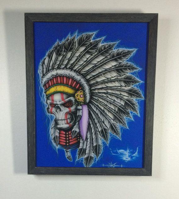 Native American  Skull Tattoo Art Framed Giclee Print Limited Edition