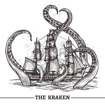 antik: Giant Octopus fängt alten Stil Segelschiff…