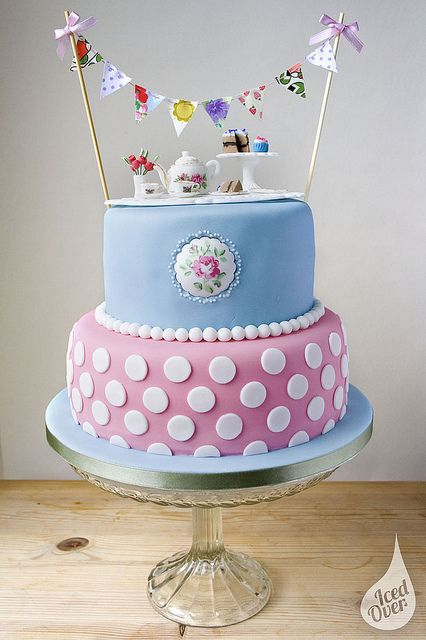 The most darling tea time celebration cake with bunting! #party #pretty #polkadots