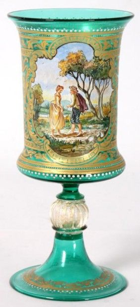 Murano emerald glass glass hand painted chalice, gilt decorated with enamel borders and painted scenic panel on the front, and trumpeted foot applied to a pumpkin shaped stem, Venice, Italy