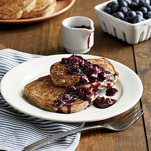 Lemon-Poppy Seed Pancakes with Blueberry Compote   MyRecipes.com