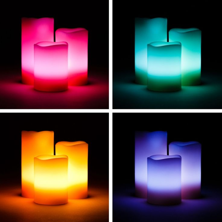 Battery Operated Flameless LED Wax Candles With Remote Control - 12 Color Options (Set of 3 Candles) [403211]