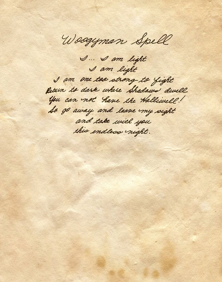 """Book of Shadows:  """"Woogeyman Spell,"""" by Charmed-BOS, at deviantART."""