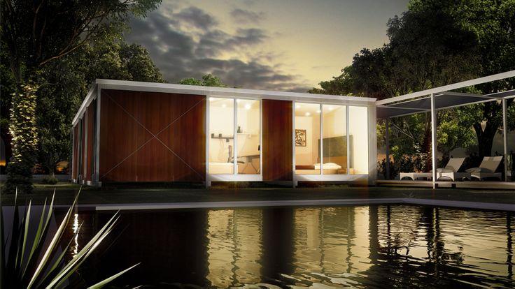 Vivienda Modular Javier Terrados (exterior/noche) - Realización de infografías 3D para la presentación de un proyecto de viviendas modulares de construcción en seco. Arquitecto: Javier Terrados Cepeda