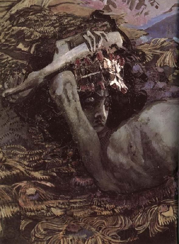 Mikhail Vrubel, Demon Prostrate  (detail). 1902