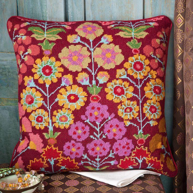 "Persian Garden - Ehrman Tapestry. By Kaffe Fassett. 16.5"" x 16"". 43 cm x 41 cm. 10 holes to the inch. Ehrman wools."
