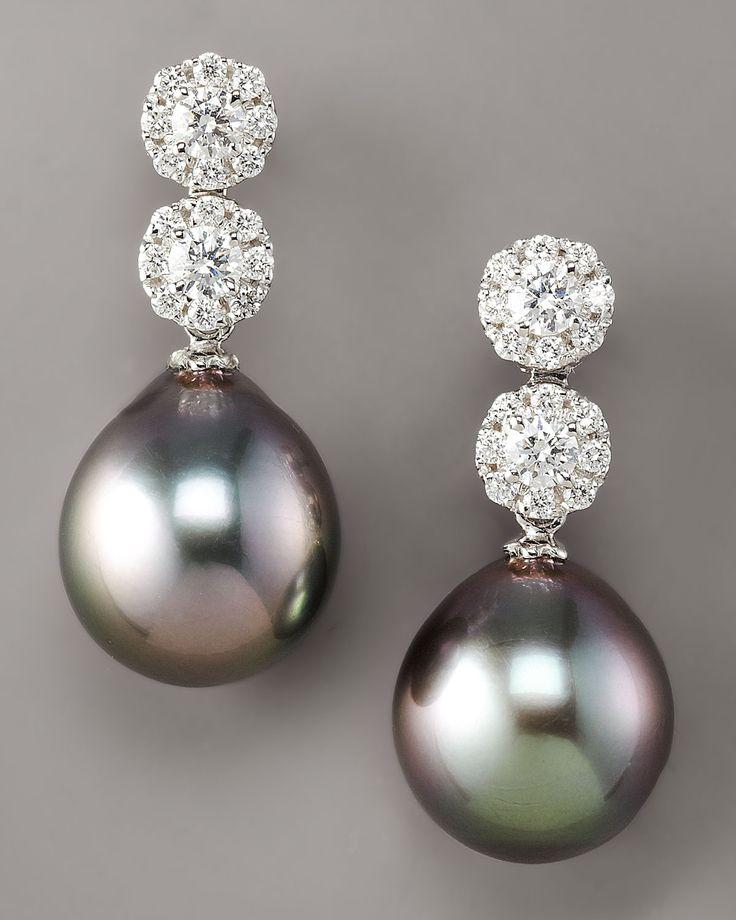 Assael Diamond & Pearl Drop Earrings in Silver (black) | Lyst