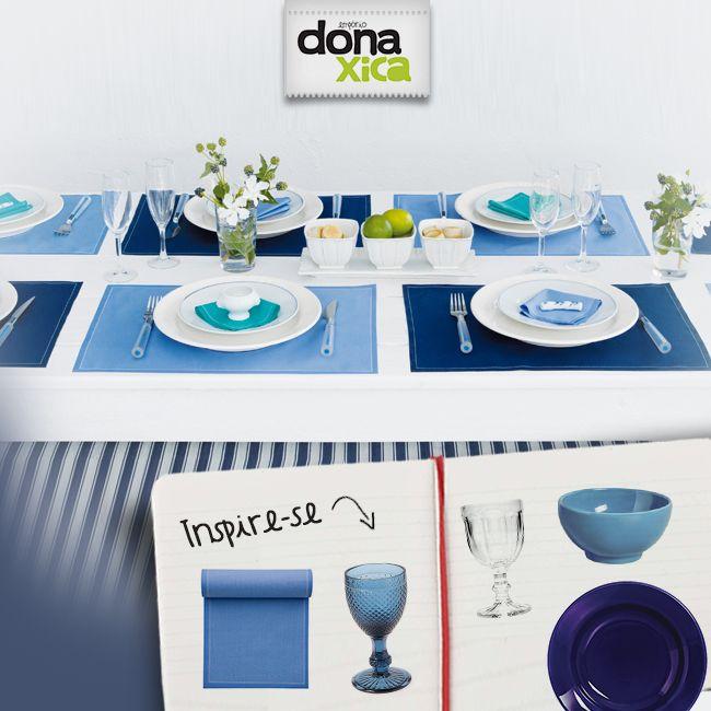 Adoramos essa mesa toda em tons de azul. O azul é uma cor que mesmo usando somente ele na decoração você tem diversos tons que podem ser usados juntos sem nenhum problema!