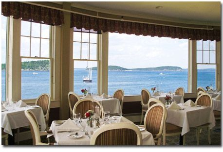 The Reading Room Restaurant at  the Bar Harbor Inn ME , we at dinner there and watched a  an ocean liner sail into the harbor as we sat by that window