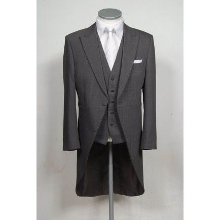 slim fit grey Grooms tailcoat wedding suit hire