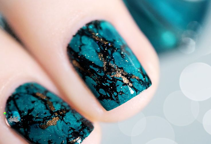 -Tuto Nail art- L'effet Pierre Turquoise…